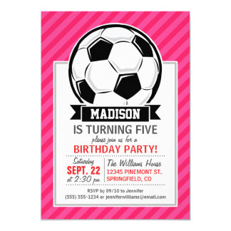 Soccer Ball on Neon Pink Stripes 13 Cm X 18 Cm Invitation Card
