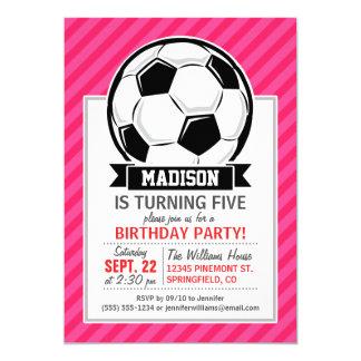Soccer Ball on Neon Pink Stripes 13 Cm X 18 Cm Invitation Card