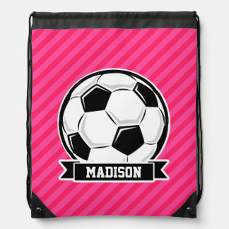 Soccer Ball on Neon Pink Stripes Drawstring Bags