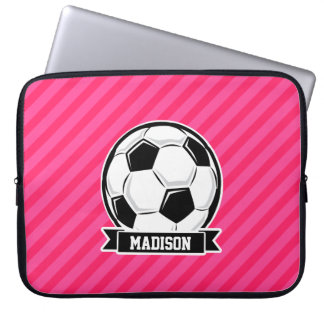 Soccer Ball on Neon Pink Stripes Laptop Sleeve