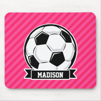 Soccer Ball on Neon Pink Stripes Mousepad