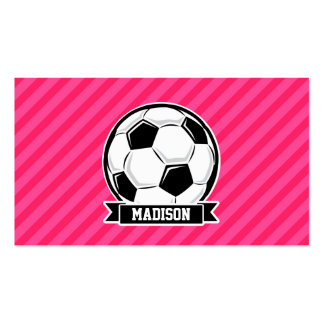 Soccer Ball on Neon Pink Stripes Pack Of Standard Business Cards