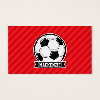 Soccer Ball on Red Diagonal Stripes Business Card
