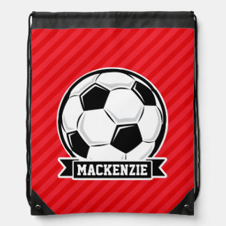 Soccer Ball on Red Diagonal Stripes Drawstring Bag