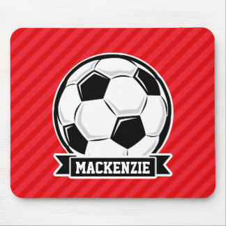 Soccer Ball on Red Diagonal Stripes Mousepads