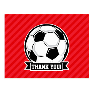 Soccer Ball on Red Diagonal Stripes Postcard