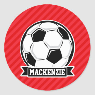 Soccer Ball on Red Diagonal Stripes Round Sticker