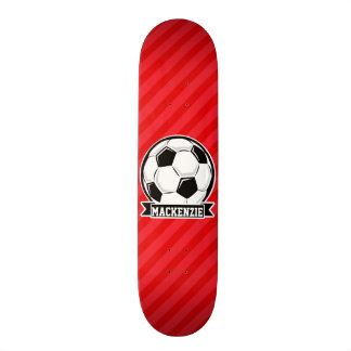Soccer Ball on Red Diagonal Stripes Skateboards