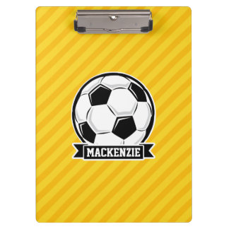 Soccer Ball on Yellow Stripes Clipboard