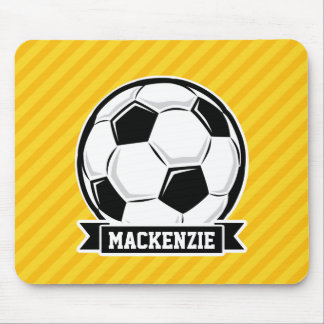 Soccer Ball on Yellow Stripes Mousepad