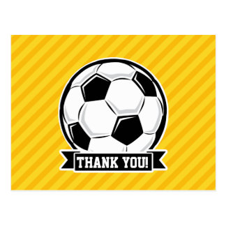 Soccer Ball on Yellow Stripes Post Cards
