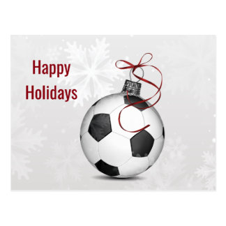 soccer ball ornament Holiday Cards Postcard