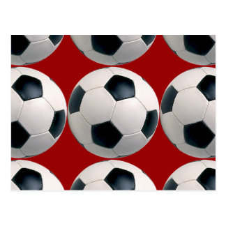 Soccer Ball Pattern on Red Post Cards