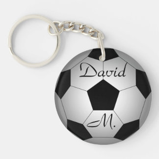 Soccer ball, personalised Double-Sided round acrylic key ring