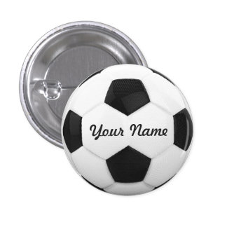 Soccer Ball Personalized Name 3 Cm Round Badge