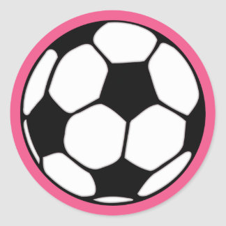 Soccer Ball Pink Girl's Birthday Party Classic Round Sticker