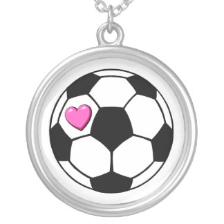 Soccer Ball Pink Heart Silver Plated Necklace
