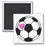 Soccer Ball Pink Hrt Fridge Magnets