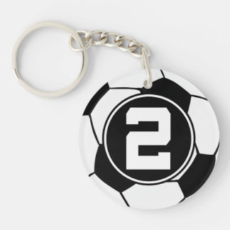 Soccer Ball Player Number 2 Stocking Stuffer Single-Sided Round Acrylic Key Ring
