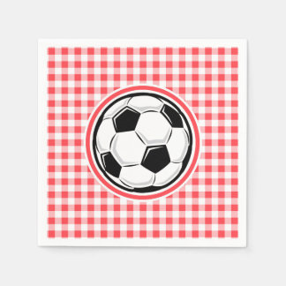 Soccer Ball; Red and White Gingham Disposable Serviette