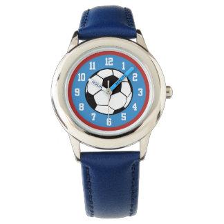 Soccer Ball Red Blue Wristwatch