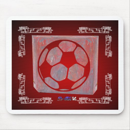 SOCCER BALL RED CUSTOMIZABLE PRODUCTS MOUSE PADS