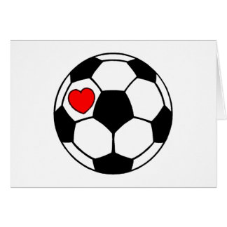 Soccer Ball (Red Heart) Greeting Card