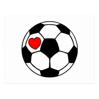 Soccer Ball Red Heart Postcards