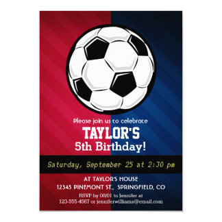 Soccer Ball; Red, White, and Blue 13 Cm X 18 Cm Invitation Card