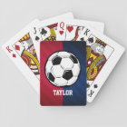 Soccer Ball; Red, White, and Blue Playing Cards