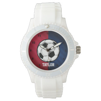 Soccer Ball; Red, White, and Blue Wrist Watch