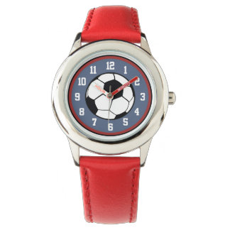 Soccer Ball Red White Blue Watch