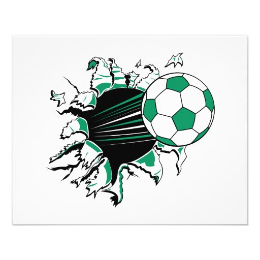 soccer ball ripping thru personalized flyer