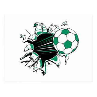 soccer ball ripping thru postcard