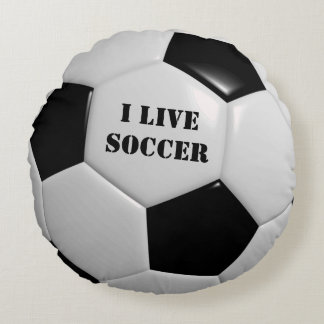 Soccer Ball Round Bed Throw Pillow Boy's Room