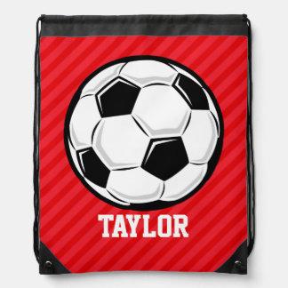 Soccer Ball; Scarlet Red Stripes Backpacks