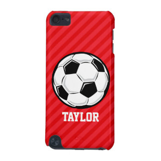 Soccer Ball; Scarlet Red Stripes iPod Touch 5G Cover