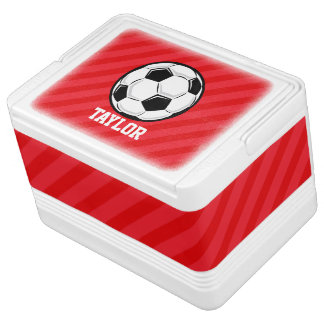 Soccer Ball; Scarlet Red Stripes Igloo Cool Box