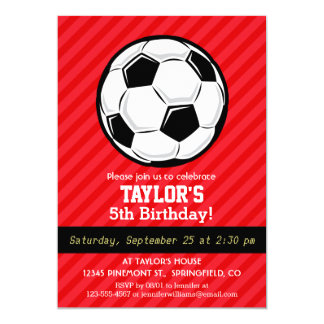 Soccer Ball; Scarlet Red Stripes 5x7 Paper Invitation Card