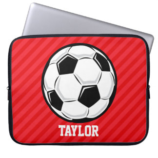Soccer Ball; Scarlet Red Stripes Laptop Sleeve