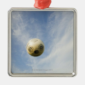 Soccer Ball Silver-Colored Square Decoration