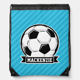 Soccer Ball; Sky Blue Stripes Drawstring Bag