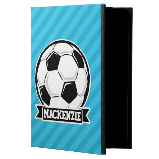 Soccer Ball; Sky Blue Stripes iPad Air Covers