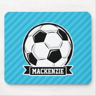 Soccer Ball; Sky Blue Stripes Mousepad