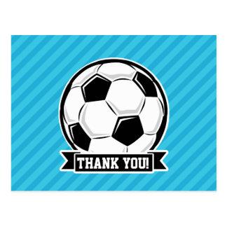 Soccer Ball; Sky Blue Stripes Postcards