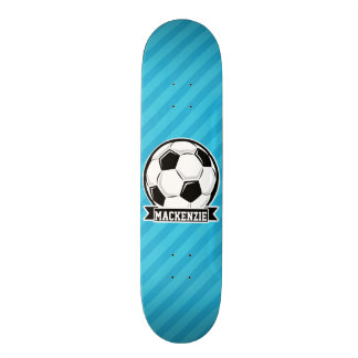 Soccer Ball; Sky Blue Stripes Custom Skate Board