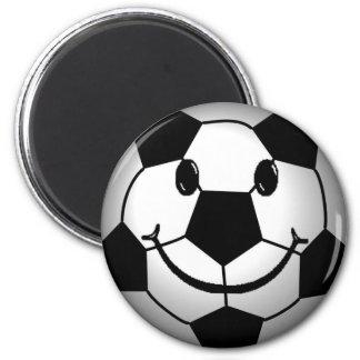 Soccer Ball Smiley Face 6 Cm Round Magnet