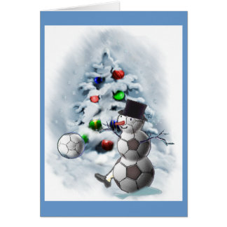 Soccer Ball Snowman Christmas Card