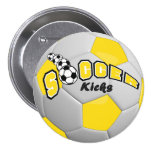 Soccer Ball Sport Kicks | Yellow 7.5 Cm Round Badge
