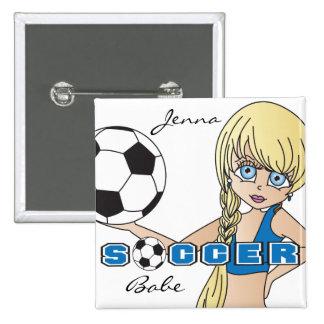 Soccer Ball Sports Girl   Blue 15 Cm Square Badge